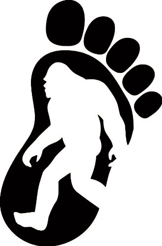 "BIGFOOT PRINT SILHOUETTE 5"" (color: BLACK) Vinyl Decal Window Sticker for Cars, Trucks, Windows, Walls, Laptops, and other stuff."