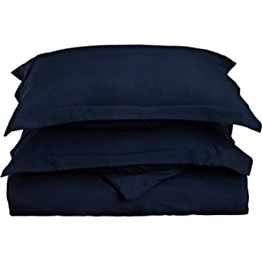 Clara Clark Premier 1800 Series 3-Piece Duvet Cover, King, Navy Blue