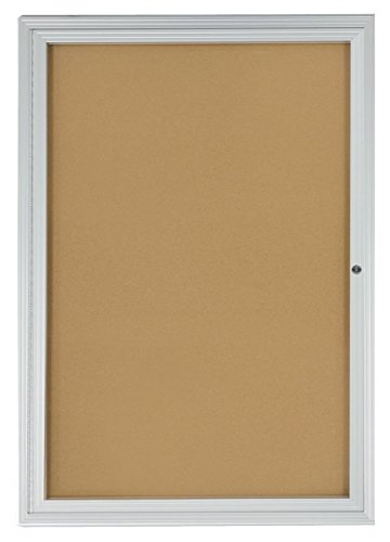 "Displays2go 2x3 Foot Cork Enclosed Bulletin Board, 24"" x 36"" with Hinged Door, Aluminum (LCRKSF2436)"