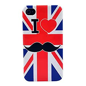 LCJ UK Flag Mustache Soft TPU IMD Case for iPhone 4/4S
