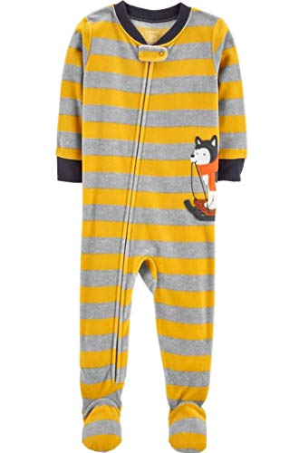 Toddler Boy's Husky Sled Dog Striped Fleece Footed Pajama Sleeper (4T) Yellow, -