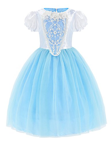 Princess Snow Queen Elsa Costumes Fancy Party Birthday Dress Up For Girls with Accessories 4-5 Years(110cm) by Party Chili (Image #4)