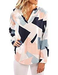 Upopby Women's V-Neck Geometric Print Long Sleeve Blouses Casual Tops