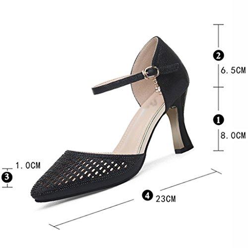 Hauts Été Talons 35 Taille Chaussures couleur Noir Femme Hwf Ms Sandales Simples Or qntnYwZX
