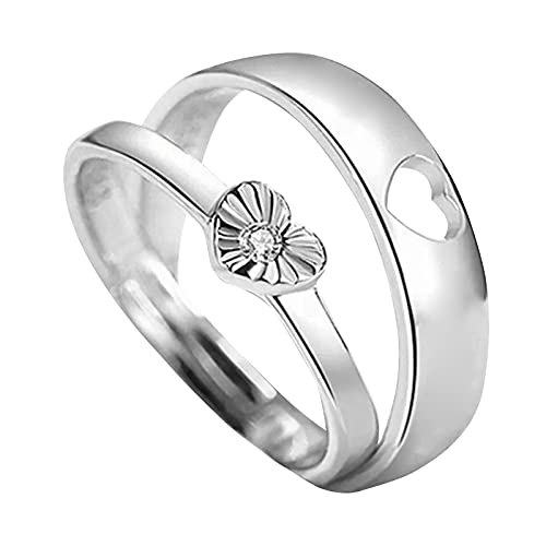 Adjustable Women Rings - 2PC Couple Ring Adjustable Ring Jewelry Promise Engagement Rings (A6)