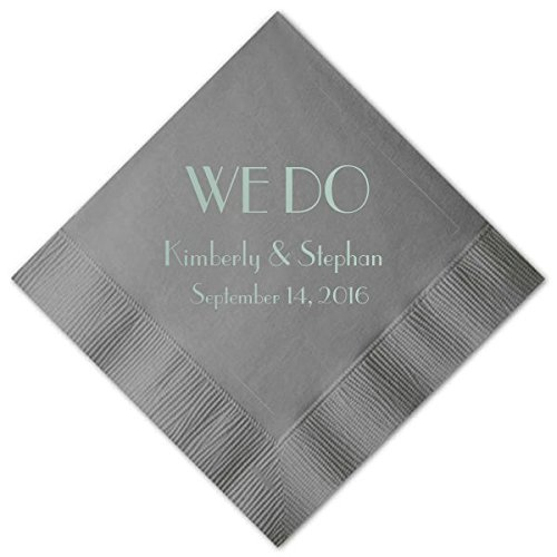 Personalized Platinum Wedding Cocktail Napkins, set of 100