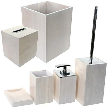 Amazon Com Gedy Pa1181 02 Papiro Wooden Bathroom Accessory Set