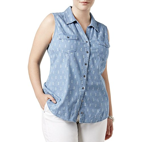Style & Co. Womens Plus Printed Collar Button-Down Top Blue ()