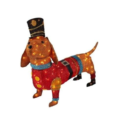christmas decoration indooroutdoor lighted tinsel dachshund dog in toy soldier uniform 40 - Outdoor Tinsel Christmas Decorations