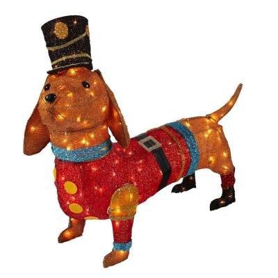 Christmas Decoration Indoor Outdoor Lighted Tinsel Dachshund Dog In