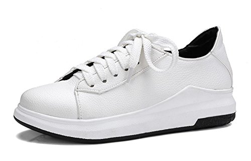 Aisun Womens Casual Round Toe Platform Skateboard Thick Sole Lace Up Sneakers Shoes White