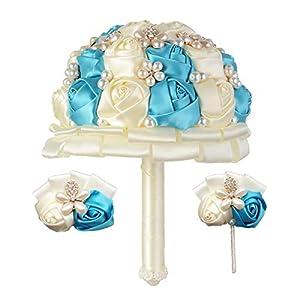 vocheng Wedding Bouquet Set,Bridal Bouquet,Wedding Wrist Corsage,Groomsmen Boutonniere Party Prom Decor 118