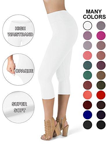 SATINA High Waisted Super Soft Capri Leggings - 20 Colors - Reg & Plus Size (One Size, White) ()