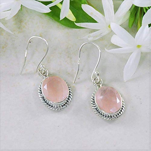 Sivalya 3.00 Ct Oval Natural Rose Quartz Earrings in 925 Oxidized Sterling Silver, Genuine Gemstone Solid Silver French Hook Dangle Earrings ()
