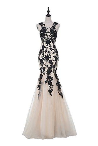 champagne and black mermaid dress - 9