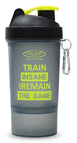 Sinew Nutrition Smart Shaker Bottle 600ml – 20 oz (Black/Neon Green)
