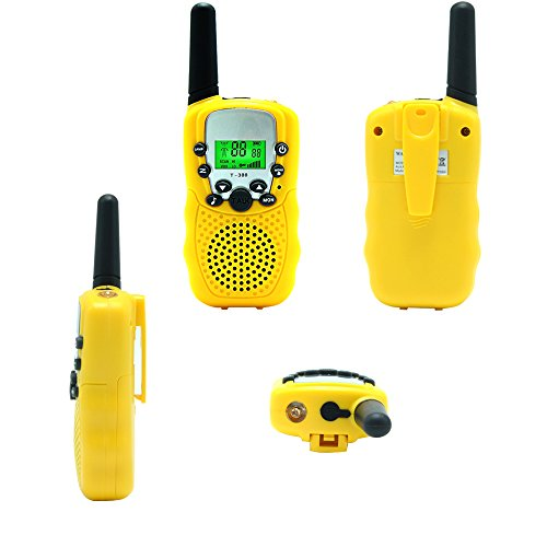 Kids Walkie Talkie Two Ways Radio Toy T-388 Walkie Talkie for Kids 2 Miles Range 3 Channels FRS GMRS Handheld Mini Walkie Talkies for Outdoor Adventures Camping Hiking Set of 2 (Yellow)