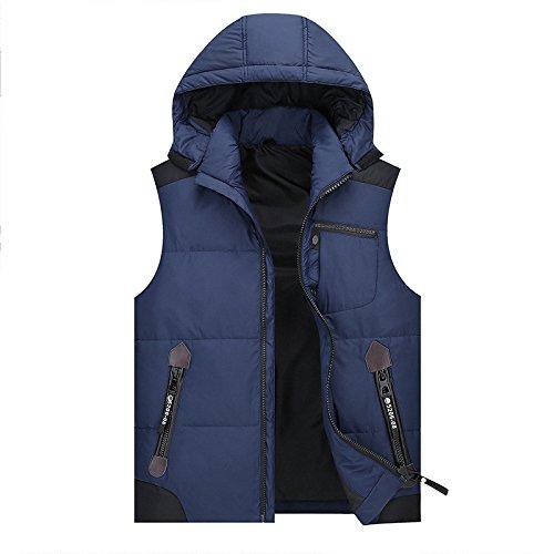 Blu Cappotto Giacche Tasca Cerniera Maniche Gilet Degli Fym Scuro Uomini Cappello Caldo Dyf Giù Con Giacca HAaq7