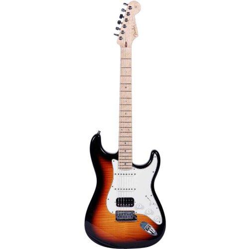Sunburst Flame Top (Fender Custom Deluxe Stratocaster Faded 3-Color Sunburst 6-String Electric Guitar w/ Flame Maple Top, Maple Fingerboard & Blonde Hardshell)