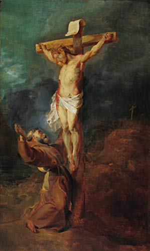 Berkin Arts Peter Paul Rubens Giclee Canvas Print Paintings Poster Reproduction Large Size(St. Francis of Assisi Before The Crucified Christ) #DFB