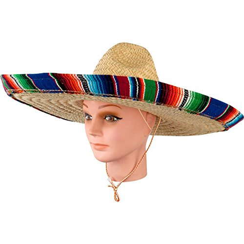 Adult Mexican Sombrero Hat With Serape (Sombrero Hat With Serape Band)