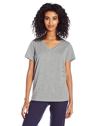 (HUE Women's Short Sleeve V-Neck Sleep Tee, Medium Grey Heather)