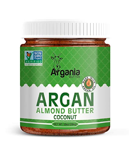 Argania Butter Coconut Almond Butter With Superfood Organic Edible Argan Oil - Vegan, No Gluten , Kosher, Non GMO, No Palm Oil, No Dairy, No Peanuts, Keto Friendly, Low Carb. 10 Ounces