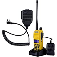 NKTECH NK-S112 Mic and BaoFeng UV-82 Tri-Power 8W 4W 1W VHF UHF Dual Band 136-174/400-520 Transceiver Two Way Radio Walkie Talkie 7.4V Li-ion Batteries Accessories Yellow