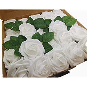 Artificial Flower, Fake Flower White Roses, 25pcs for Home Decoration Office Decoration Wedding Party Birthday Cake Fake Flower 111