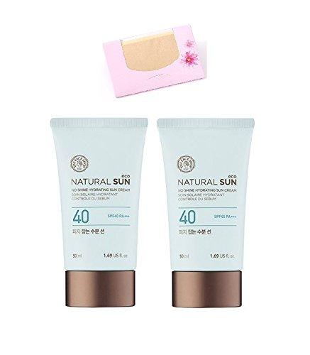 (2pcs) The Face Shop Natural Sun Eco Sebum Control Moisture Sun SPF 40 PA+++, SoltreeBundle Natural Hemp Paper 50pcs Review