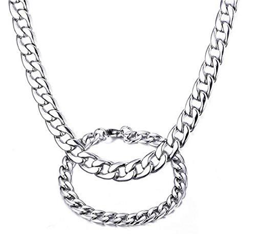 FidgetFidget 8mm Stainless Steel Men's Fashion Figaro Chain Bracelet & Necklace Jewlery Set