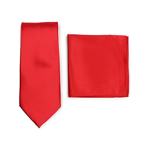 (Bows-N-Ties Men's Solid Necktie and Pocket Square Set (Bright Red))