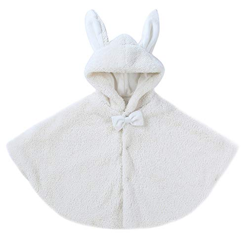 MOGOV Toddler Baby Boys Girls Cute Cartoon Rabbit Ear Keep Warm Outwear Cloak Clothes White