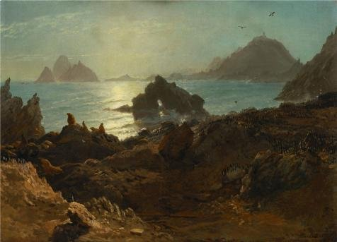 The High Quality Polyster Canvas Of Oil Painting 'Albert Bierstadt,Farallon Islands,Pacific Ocean,California,1872' ,size: 12x17 Inch / 30x42 Cm ,this Best Price Art Decorative Prints On Canvas Is Fit For Powder Room Decoration And Home Decor And Gifts