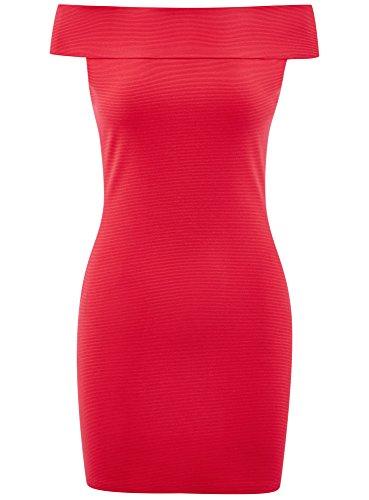 con oodji de Hombros Vestido Abiertos Punto Ultra Rosa 4d00n Mujer 7wxCZg7Rrq