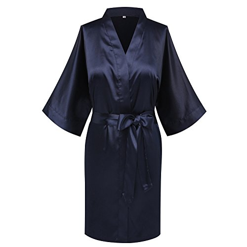 goodmansam Women's Bridesmaid Wedding Party Kimono Robes Satin Dressing Gown, Short,Denim -