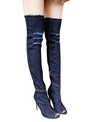 Dellytop Frauen lange Oberschenkel hoch über Knie offene Zehe Stiletto Heel Denim Boots Navy blau