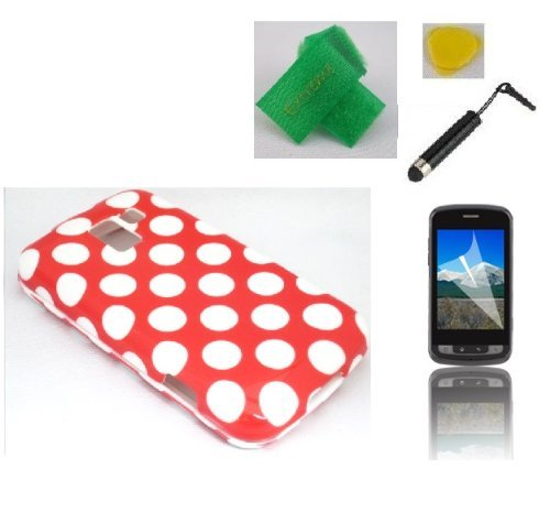Lg Optimus Q L55c Zip L75C Enlighten Optimus Slider Optimus LS700 Vs700 Red Polka Dot Faceplate Phone Case Cover + Stylus Pen + Screen Protector + Yellow Pry Tool + Extreme Band Cell Phone Accessory (Lg Optimus Slider Cover)