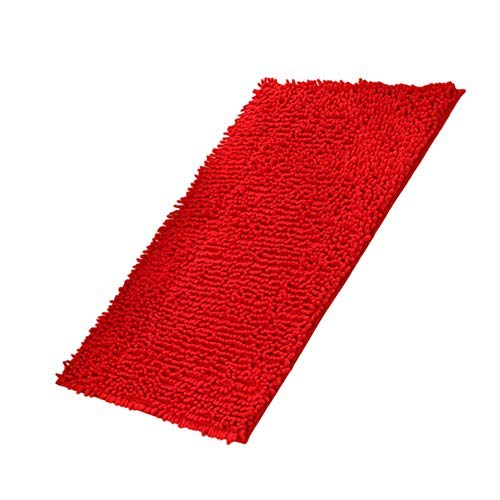 Fadesun Super Soft Absorbent Non-Slip Microfiber Chenille Carpet/Doormat/Bath Mat/Rug Carpet/Floor Rug for Bedroom,Sitting Room,Corridor,Kitchen,Bathroom,and Car Seats,Shower,20x32,Red