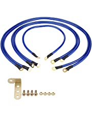 KIMISS Car Grounding Kit, Universal 5-Point Auto Car Earth Cable System Ground Grounding Wire Kit