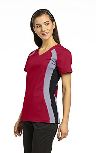 Allure by White Cross Women's 715 Contrast Knit Side Panel Scrub Top- Heritage Red- X-Small (Heritage Panel)