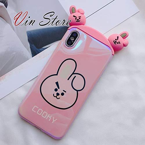 BT21 Phone Case iPhone 7 8 Plus Case - BT21 Official Merchandise Line Friends, Cute 3D Design Tata Cooky Rj Ryan Apeach Phone Case (Cooky, iPhone 7 8 Plus) ()