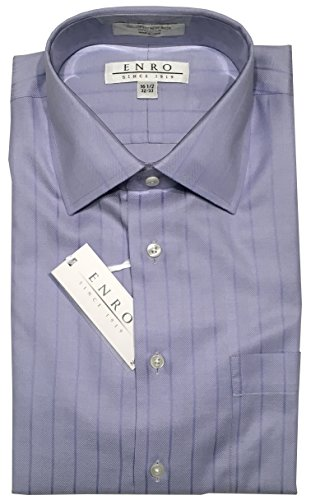 Herringbone Stripe Dress Shirt (Enro Non-Iron Spread Collar Tonal Herringbone Stripe Dress Shirt (16.5 32/33, Periwinkle))