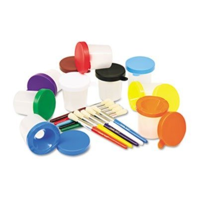 New - No-Spill Cups amp; Coordinating Brushes, Assorted Colors, 10/Pack - 5104 by Chenille Kraft