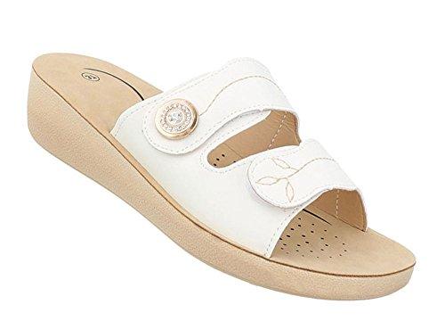 Schuhcity24 Damen Schuhe Sandaletten Pantoletten Weiß