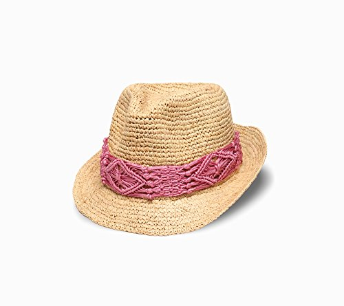 Physician Endorsed Women's Malia Crochet Raffia Hat with Macrame Trim, Pink, One Size