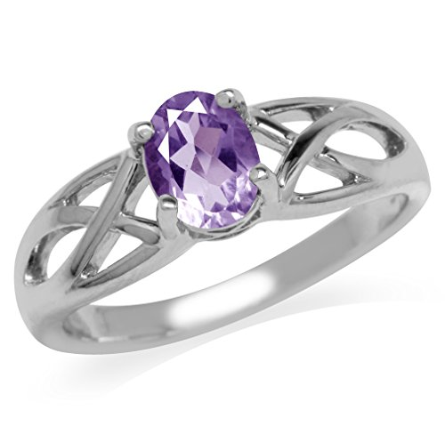 Clearance Natural Amethyst White Gold Plated 925 Sterling Silver Jesus Fish Ring Size 7 (Jesus Silver Fish)