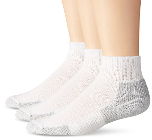 Thorlos Unisex JMX Running Thick Padded Ankle Sock, White (3 Pack), Medium