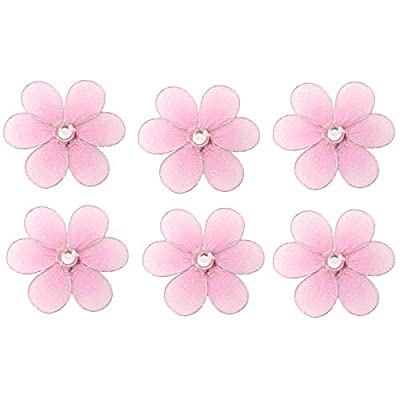 """Flower Decorations Pink Mini Nylon Flowers Decor Baby Nursery Bedroom Girls Room Wall Wedding Birthday Party Shower Home Craft Wire Mesh Fake Artificial 3D Butterfly Life (X-Small 2"""" x 2"""" - Set of 6) : Baby"""