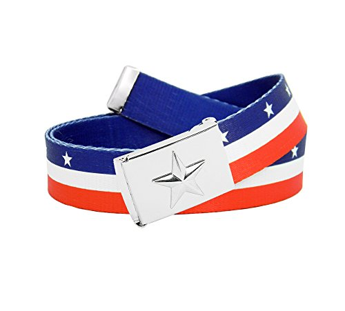 Printed Canvas Belt (Men's Nautical Star Silver Flip Top Belt Buckle with Printed Canvas Belt X-Large Star Spangled Stripe)
